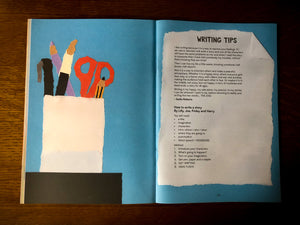 Image from a page inside Night & Day showing paper stationery and some writing tips from a group of young people at Grimm & Co.