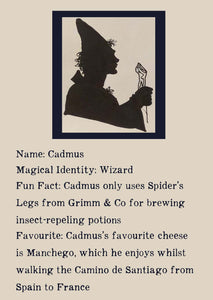 Character bio for Cadmus the Wizard. Image shows the silhouette of a wizard wearing a long pointed hat, a cape, and holding a staff. Bio reads as follows - Magical Identity: Wizard. Fun Fact: Cadmus only uses Spider's Legs from Grimm & Co for brewing insect-repelling potions. Favourite: Cadmus's favourite cheese is Manchego, which he enjoys whilst walking the Camino de Santiago from Spain to France.