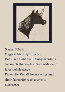 Character bio for Cobalt the Unicorn. Image shows the silhouette of the head of a unicorn. Bio reads as follows - Magical Identity: Unicorn. Fun Fact: Cobalt's lifelong dream is to launch the world's first iridescent hoof-polish range. Favourite: Cobalt loves racing and their favourite race course is Doncaster.