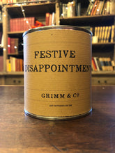 Load image into Gallery viewer, Image shows a tin of Festive Disappointment with kraft paper label.