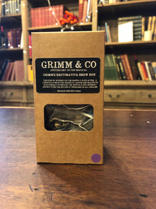 Image of Grimm's Restorative Brew Box, a kraft box with black labelling containing 15 chai silk tea temples.
