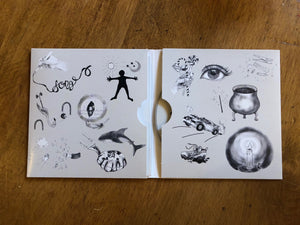 Image showing the Lyrical album opened out flat. Album cover is card with two sleeves, one containing the CD and the other containing the lyric book. Album inside sleeve is decorated with monochromatic sketches featuring an icon from each of the 14 songs.