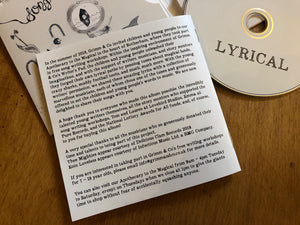 Detail image of the back of the lyric book of the album Lyrical. Info is shared about how the songs were written by children and yougn people and performed and recorded by adult musicians.