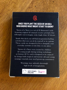 Image showing the back of the cardboard box for the card game Stems of a Story, created by children and young people during workshops at Grimm and Co.
