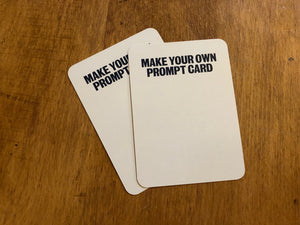 Image shows two blank 'make your own prompt card' cards for the Stems of a Story game.