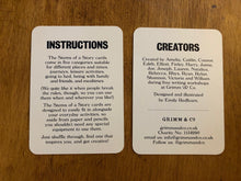 Load image into Gallery viewer, Image shows two cards from Stems of a Story, one of which is the instructions for the game, and the other lists the names of the children who created the game and the name of the illustrator, Emily Redfearn.