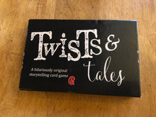 Load image into Gallery viewer, Image of the front of the box for Twists and Tales, a storytelling game created by children and young people at Grimm and Co.