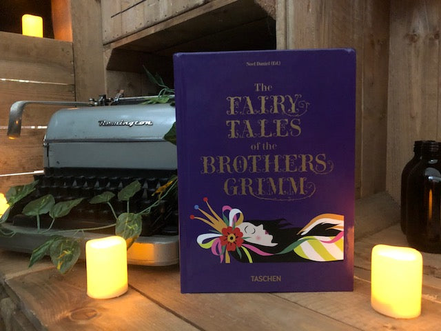 Image of the hardback book Fairy Tales Grimm & Andersen 2 in 1 book showing one side for The Fairy Tales of the Brothers Grimm.