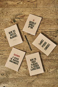 Image shows the five available kraft notebooks spread around in a circle, each with a different slogan on the front. In the middle is a word wand pencil.