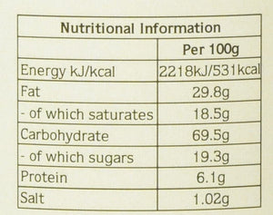 Nutritional Info for Clotted Cream Biscuits per 100g: Energy kJ/kcal 2218kJ/531kcal, Fat 29.8g, of which saturates 18.5g, Carbohydrate 69.5g, of which sugars 19.3g, Protein 6.1g, Salt 1.02g