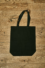 Load image into Gallery viewer, Image of back view of black cotton tote book bag