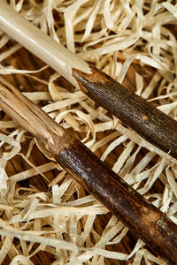 Close up image of two handmade starter wands. Wooden decorative wands with polished bark handles and stripped bare polished wooden shafts. Woods are natural shades with grain pattern.