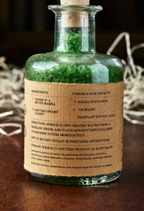 Image of the kraft label on Compound of Wicked bath salts showing faux ingredients and side effects