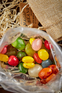 Image  shows the inside of the bag of Edible Magic Beans - vegetarian friendly jelly beans.