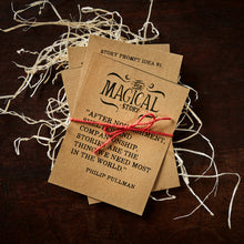 Load image into Gallery viewer, Image of the set of four kraft card quote and prompt cards, tied together with red twine.