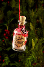 Load image into Gallery viewer, Detail image of festive greetings card one of 4 designs, this design shows a photograph of a mini potion bottle filled with alternative red and white layers of bath salts, labelled 'Festive Cheer'