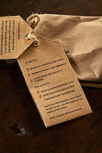 Closeup image of the Salt of Serenity label, displaying faux ingredients and side effects.