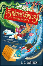 Load image into Gallery viewer, Closer view of the front cover of the paperback book The Strangeworlds Travel Agency, written by L.D. Lapinski