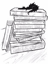 Load image into Gallery viewer, Illustrated dragon sleeping on a stack of books