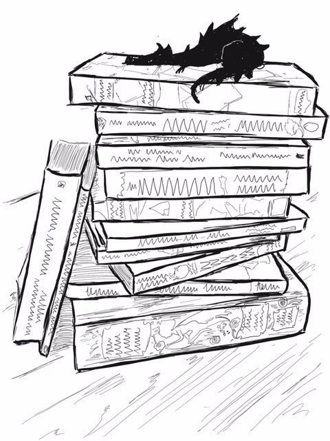 Illustrated dragon sleeping on a stack of books
