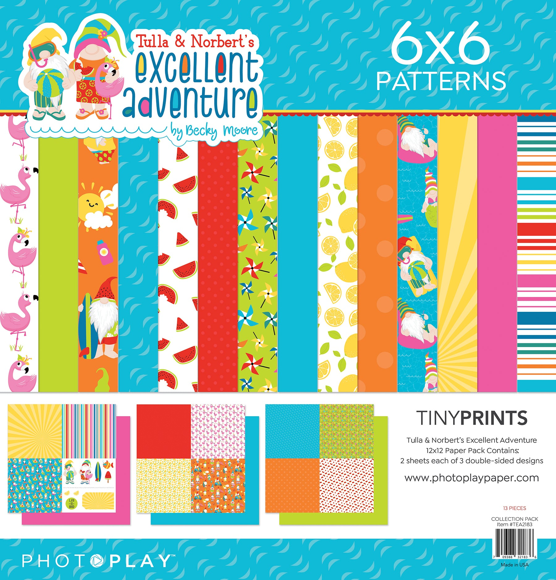 PhotoPlay Tulla & Norbert's Excellent Adventure 12x12 Tiny Prints Paper Pack