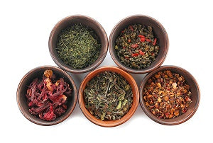 bowl of green, red and rooibos teas