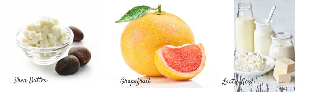 natural lactic acid found in goat milk, shea butter and grapefruit