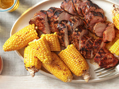 Grilled Pork With Corn on the Cob