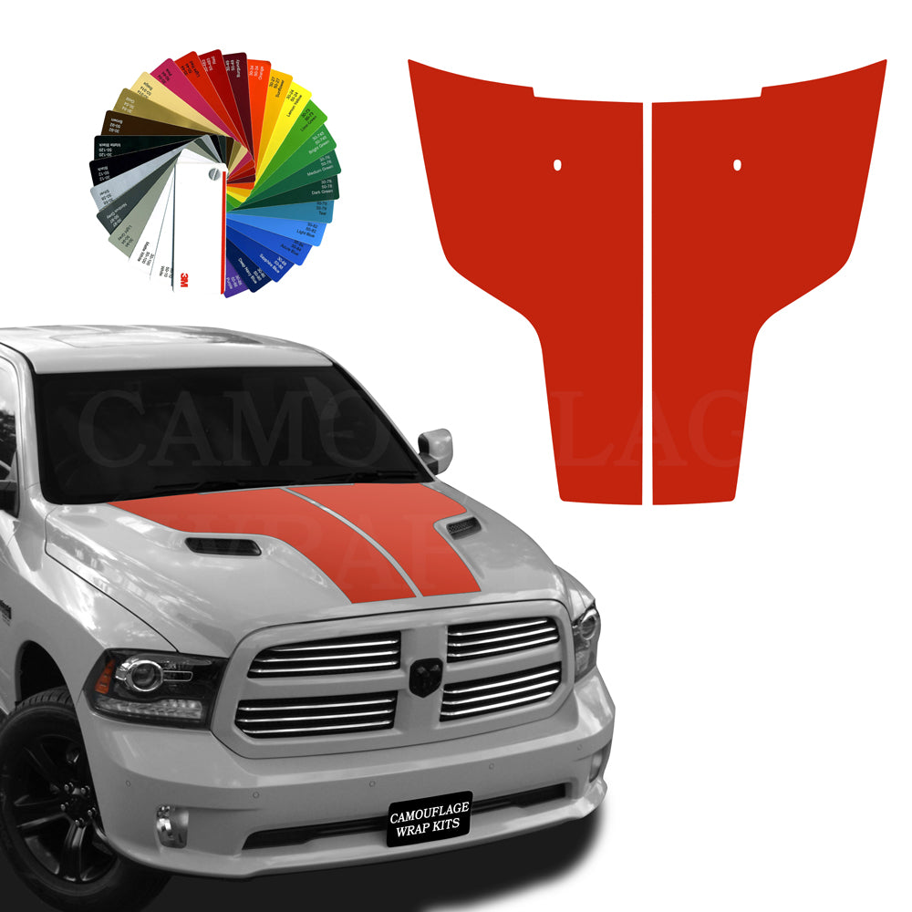 Dodge Ram Hood Stripes Red Graphic Decals 2009-2017
