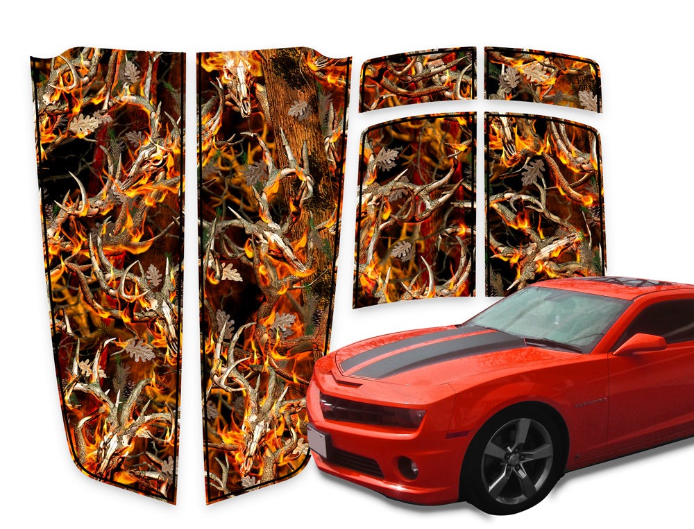 Camaro Racing Stripes Buck Skulls Blaze - Black Pinstripe 2010-2015
