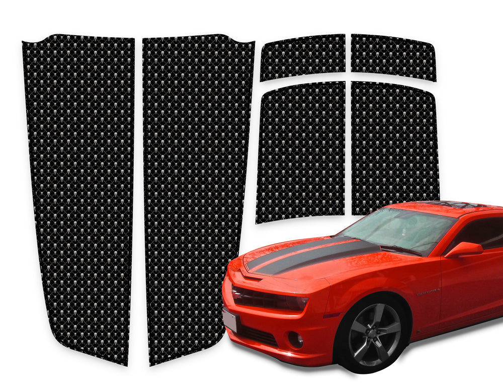 Camaro Racing Stripes Black Skulls - Black Pinstripe 2010-2015