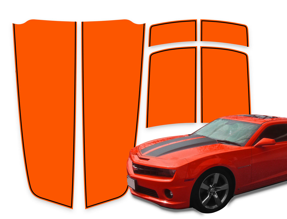 Camaro Racing Stripes Orange - Black Pinstripe 2010-2015