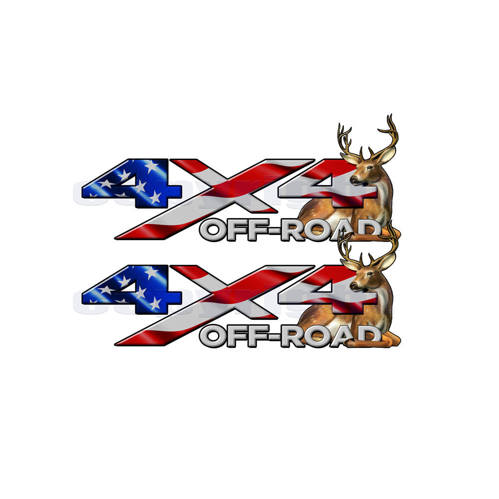 4X4 Offroad Decals American Flag  Big Buck