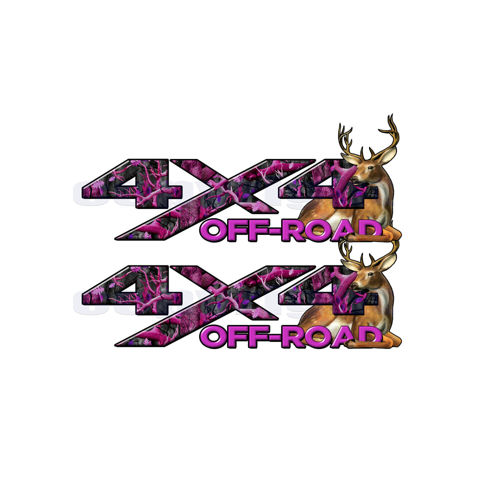 4X4 Offroad Decals Skull Camo Big Buck Pink
