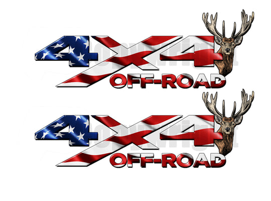 4X4 Decals American Flag Deer