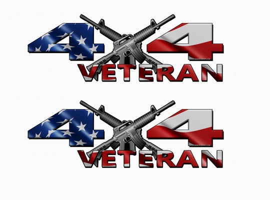 Veteran 4X4 American Flag Decals