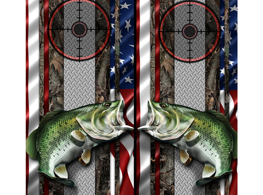Cornhole Board Wraps - Bass Fish Oak Ambush American Flag Diamond Plate Target 1L&1R - 2 PACK