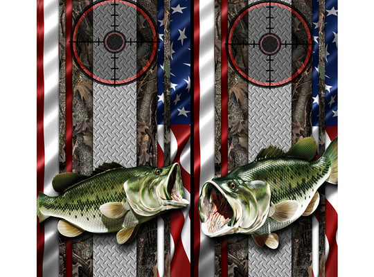 Cornhole Board Wraps - Bass Fish Oak Ambush American Flag Diamond Plate Target 3L&5R - 2 PACK