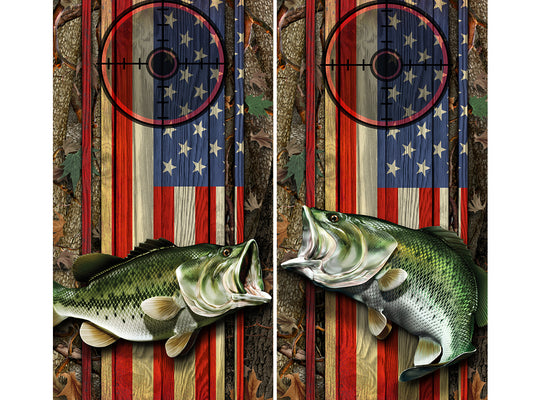Cornhole Board Wraps - Bass Fish Oak Ambush American Flag Target 1L&5R - 2 PACK