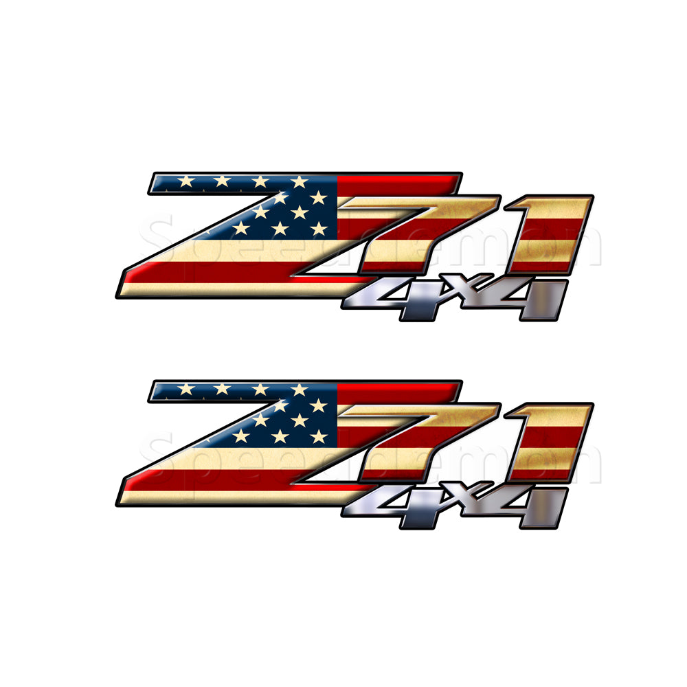 American Flag Z71 4x4 Decals Rustic