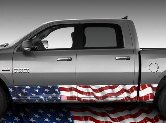 American Flag Waving Rocker Panel Wrap Graphic Decal Wrap Truck Kit #2