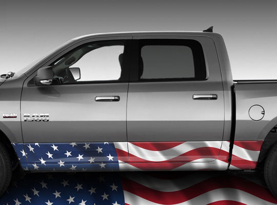 American Flag Waving Rocker Panel Wrap Graphic Decal Wrap Truck Kit #3