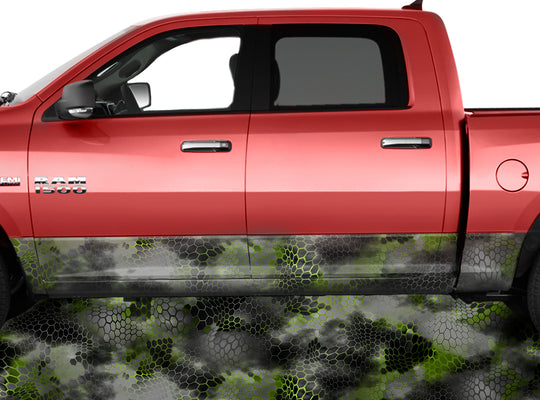 Chameleon Camo 2 Green Rocker Panel Wrap Graphic Decal Wrap Truck Kit