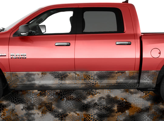 Chameleon Camo 2 Orange Rocker Panel Wrap Graphic Decal Wrap Truck Kit