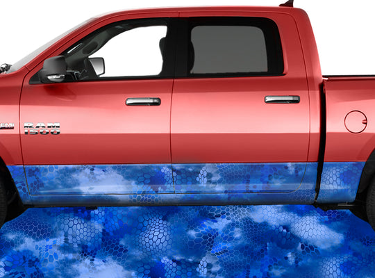 Chameleon Camo 3 Blue Rocker Panel Wrap Graphic Decal Wrap Truck Kit