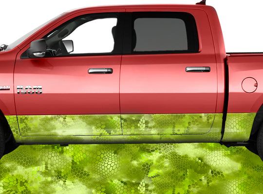 Chameleon Camo 3 Green Rocker Panel Wrap Graphic Decal Wrap Truck Kit