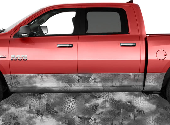 Chameleon Camo 3 Grey Rocker Panel Wrap Graphic Decal Wrap Truck Kit