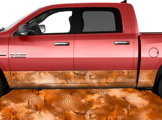 Chameleon Camo 3 Orange Rocker Panel Wrap Graphic Decal Wrap Truck Kit