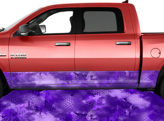 Chameleon Camo 3 Purple Rocker Panel Wrap Graphic Decal Wrap Truck Kit