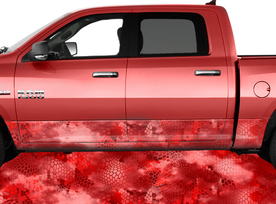 Chameleon Camo 3 Red Rocker Panel Wrap Graphic Decal Wrap Truck Kit